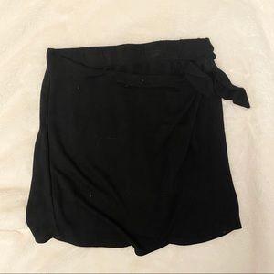 H.I.P Black Side Tie Short Mini Knit Wrap Skirt
